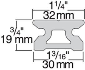 Harken R32 Big Boat Low Beam Pin Stop Track Dimensions